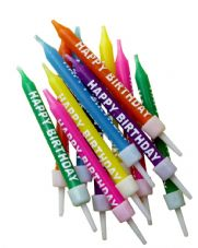 12 Multi-colour Happy Birthday Candles